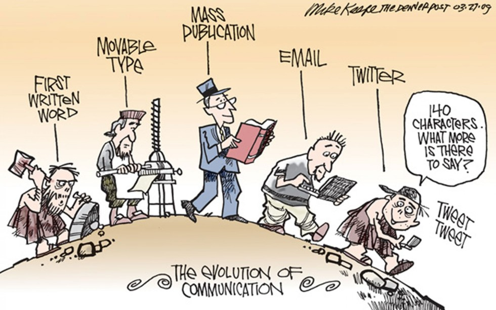 Cartoon of man evolving from stone writing to tweeting