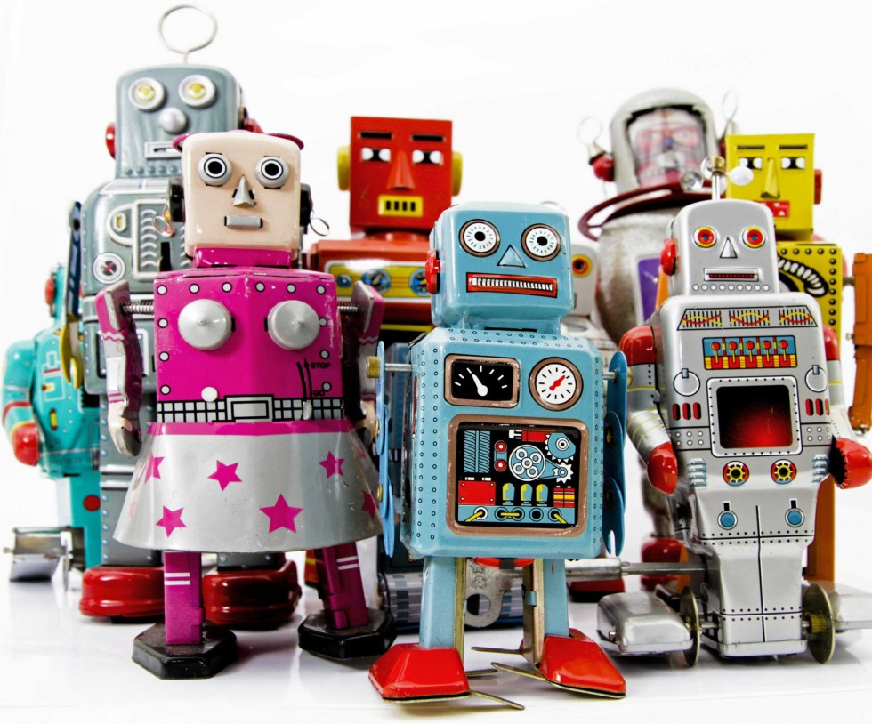 Group of toy robots.